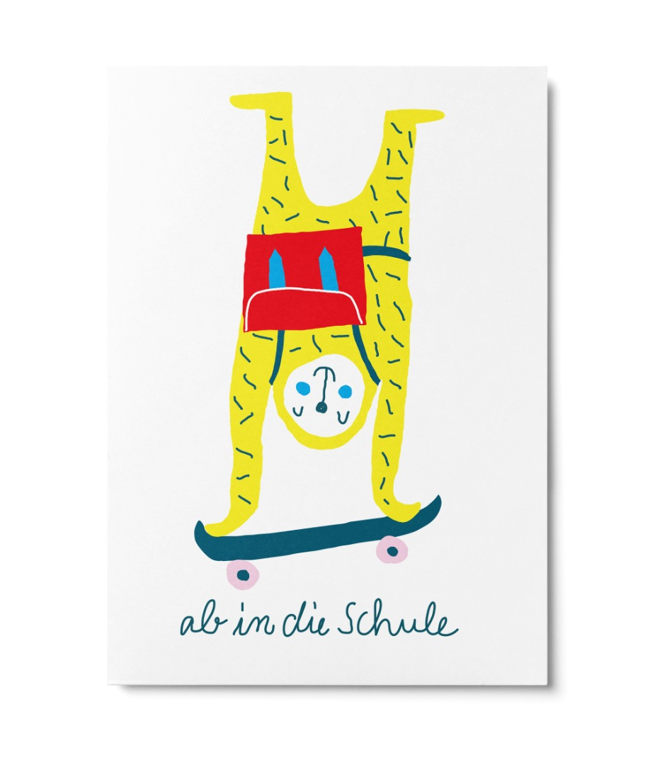 Postkarte Ab in die Schule Unter