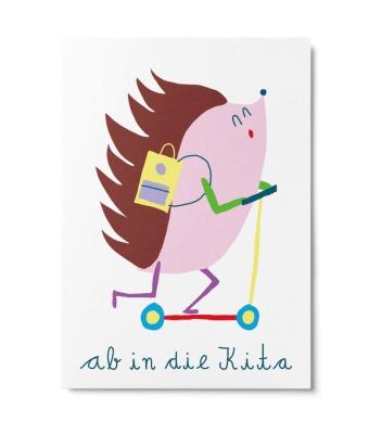 Postkarte Ab in die Kita Unter