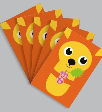 5 Postkarten Eichhoernchen von Knuschels