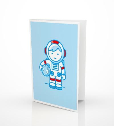 5 Grußkarten Astronaut Geburtskarte Glückwunschkarte zur Geburt - 5er Set inkl. Umschlag C6