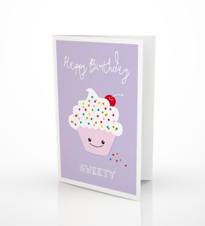 5 Grußkarten Cupcake Klappkarte Geburtstagskarte - inkl Umschlag C6