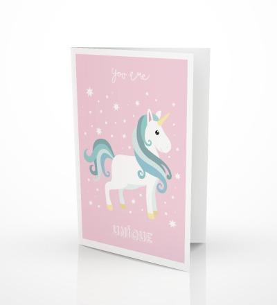 5 Grusskarten Einhorn Klappkarte Einhornkarte - inkl Umschlag C6