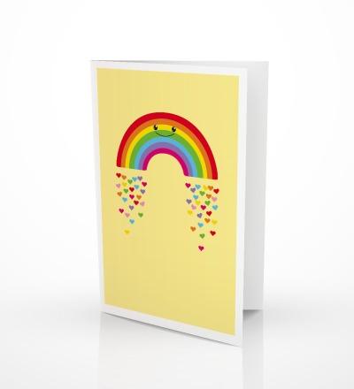 5 Grusskarten Regenbogen Klappkarte Regenbogenkarte - inkl Umschlag C6