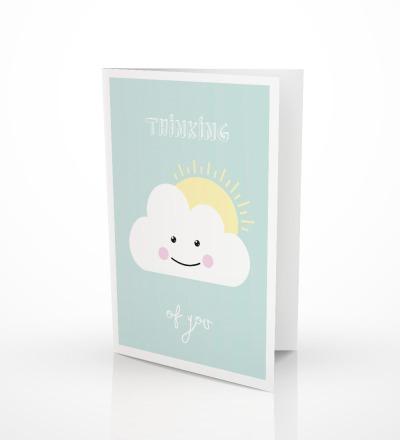 5 Grußkarten Schönwetterwolke Klappkarte Wolkenkarte - inkl Umschlag C6
