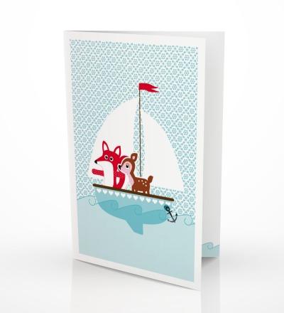 5 Grußkarten Fuchs  Reh Geburtstagskarte - inkl Umschlag C6