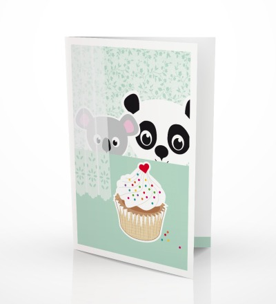 5 Grußkarten Panda  Koala Geburtstagskarte - inkl Umschlag C6