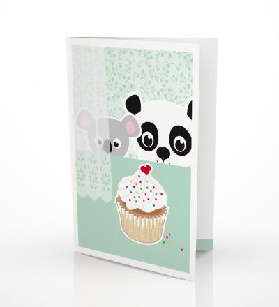 5 Grusskarten Panda Koala Geburtstagskarte - inkl Umschlag C6