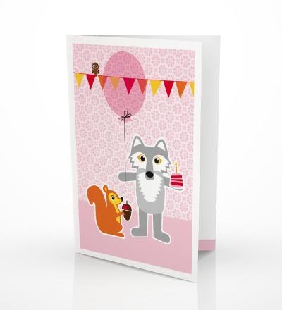 5 Grußkarten Wolf  Hörnchen Geburtstagskarte - inkl Umschlag C6