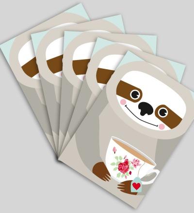 5 Postkarten Faultier von Knuschels