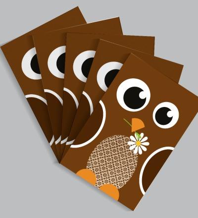 5 Postkarten Spatz von Knuschels