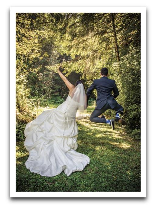 Jumping Wedding Couple Card