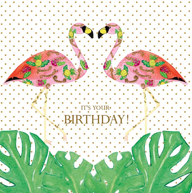 Birthday Flamingle Monstera Card