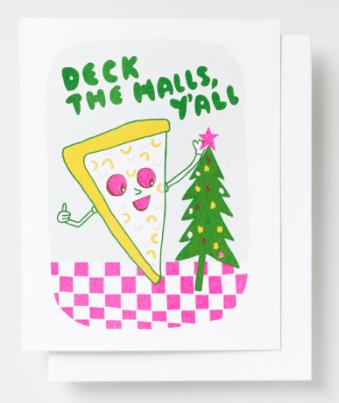 Deck the Halls Pizza Card