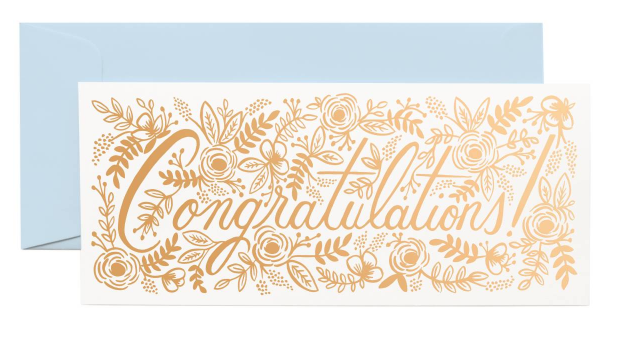 Champagne Floral Congrats Long Card