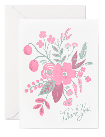 Rosy Thank You Letterpress Card