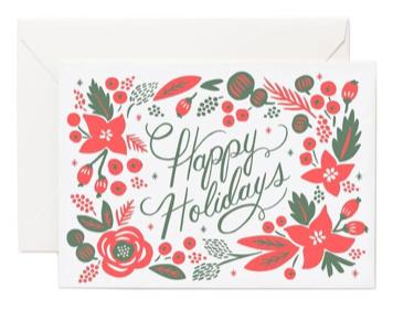 Poinsetta Letterpress Card