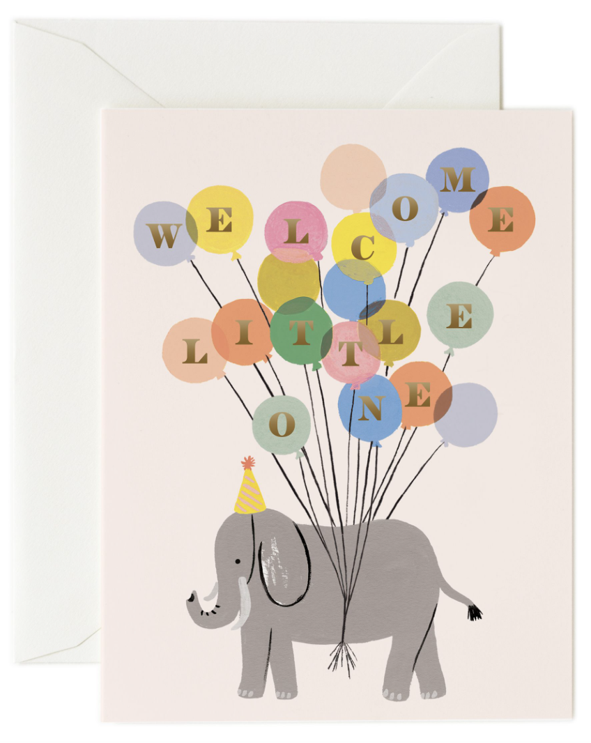 Welcome Little One Elephant Card