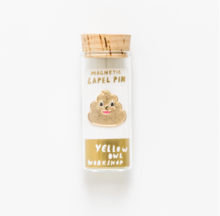 Gold Poo Emoji Lapel Pin