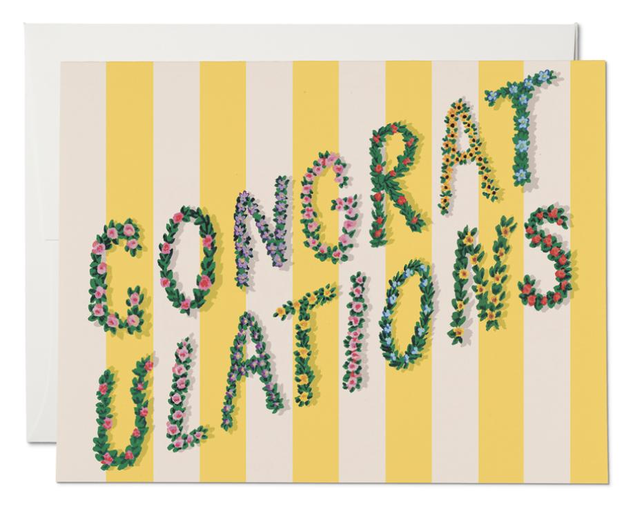 Yellow Stripes Congrats Card