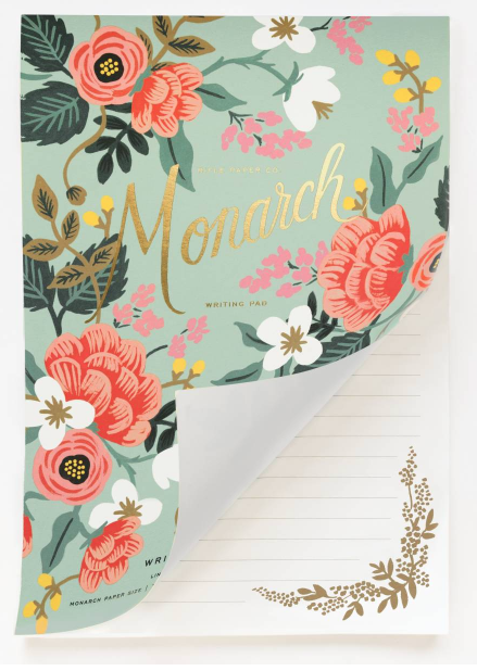 Mint Floral Birch Writing Pad 2