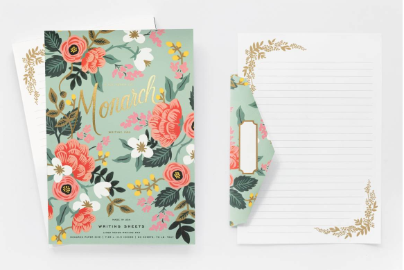 Mint Floral Birch Writing Pad 6