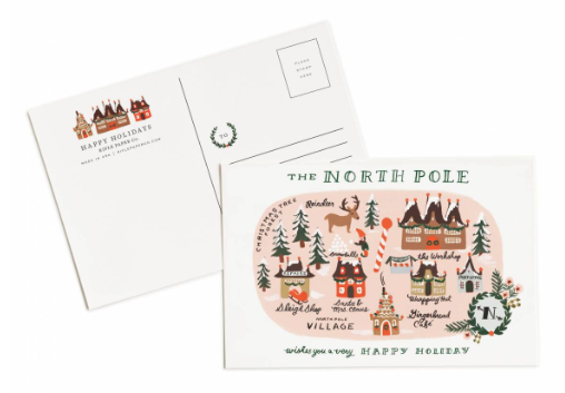 North Pole Map Postcards