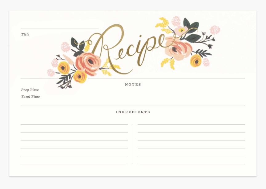 Peony Recipe Cards