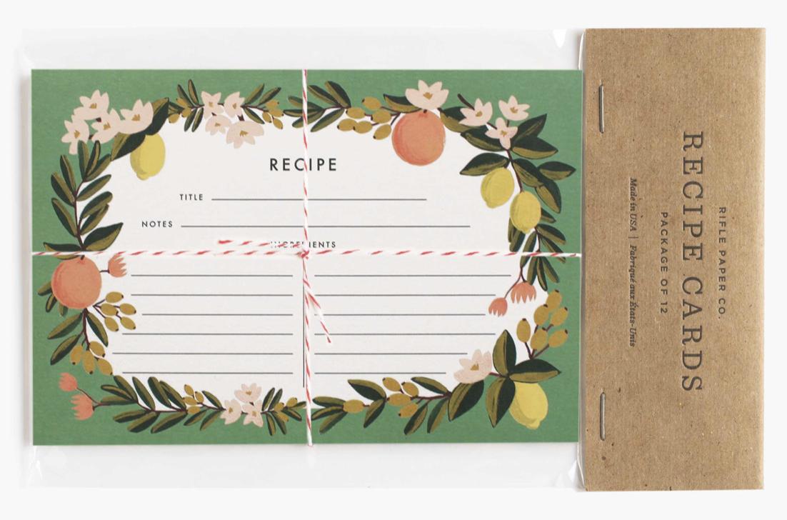 Citrus Floral Recipe Cards 3