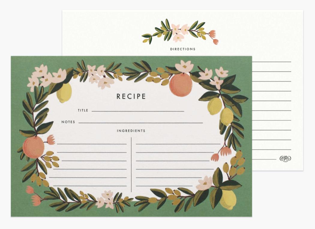 Citrus Floral Recipe Cards 4