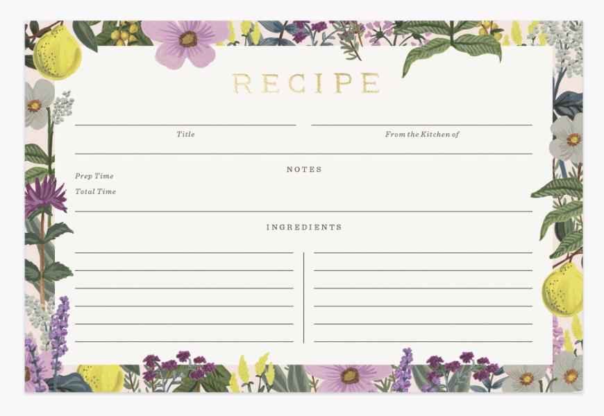 Herb Garden Recipe Cards