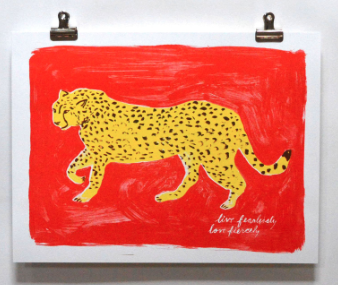 Live Fearlessly Love Fiercely Cat Print