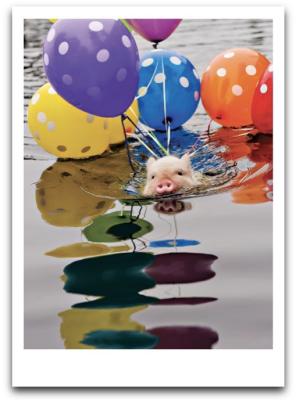 Pig Balloons Card