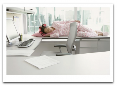 Woman Asleep Desk Card