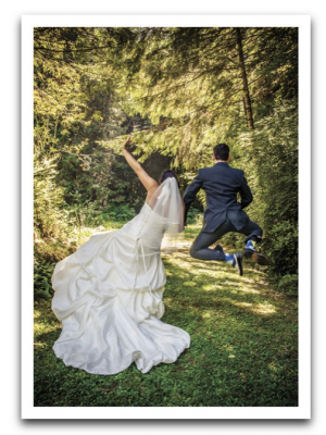 Jumping Wedding Couple Card