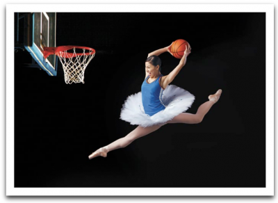 Basketball Ballerina Card