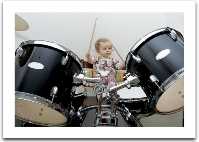 Baby Girl Playing Drums Card