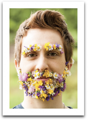 Man With Flower Face Card