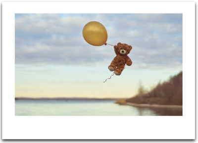 Teddy Bear With Balloon Card