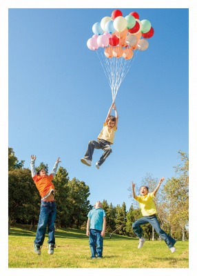 Kids with Balloons Card Palm Press