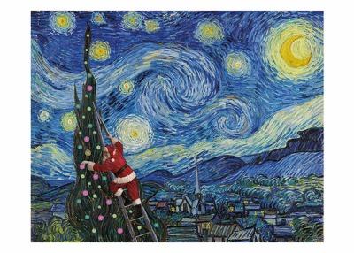 Starry Night Santa Card Palm Press