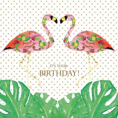 Birthday Flamingle Monstera Card - Greeting Card