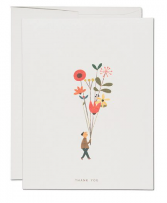 Long Stem Thank You Card Red