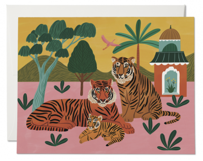 Tiger Family Card Red Cap Cards