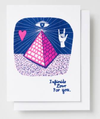 Infinite Love Pyramid Card Yellow Owl