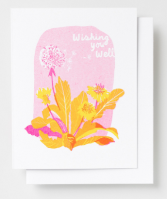 Wishing You Well Card Yellow Owl