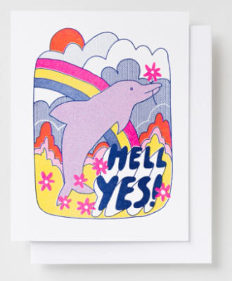 Hell Yes Dolphin Card - Yellow Owl Workshop