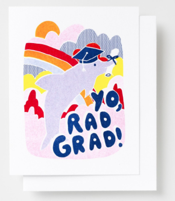Yo Rad Grad Card Yellow Owl