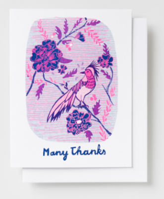 Many Thanks Bird Card Yellow Owl