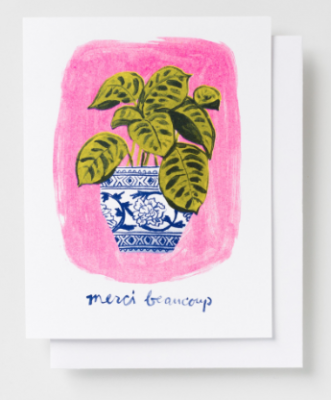 Merci Beaucoup Plant Card - Yellow Owl Workshop