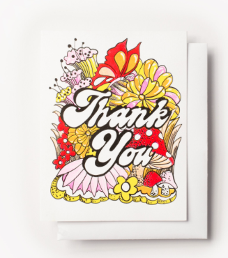 Thank You Floral Card Yellow Owl